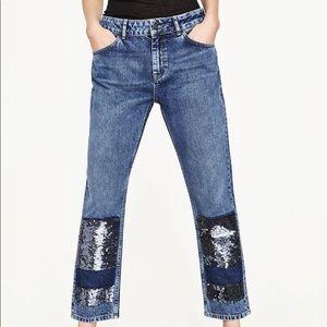 Zara Patchwork Sequin Cropped Boyfriend Jeans